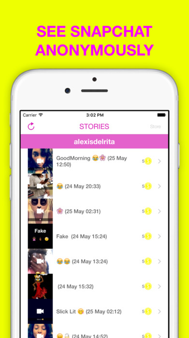 Stories anonym conversation and score for Snapchat Screenshot