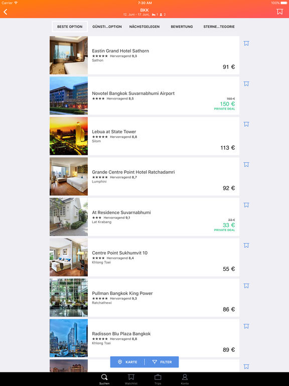 KAYAK - Flüge, Hotels & Mietwagen Screenshot