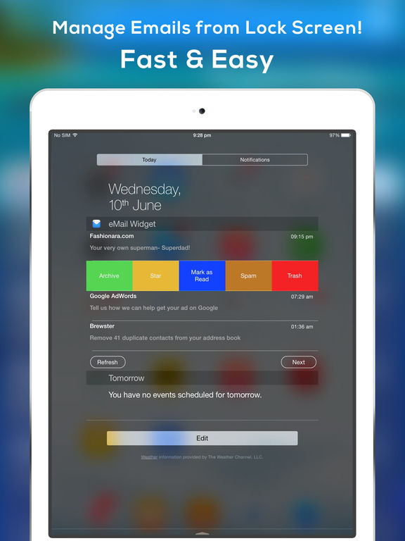 Mail2Widget-Manage Emails in Lock Screen.Fast.Easy Screenshot