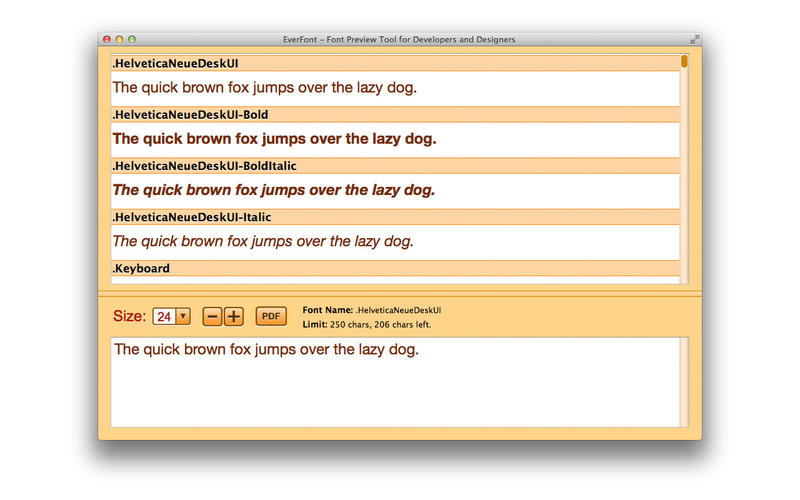 EverFont PRO - Font Preview Tool for Developers and Designers Screenshot