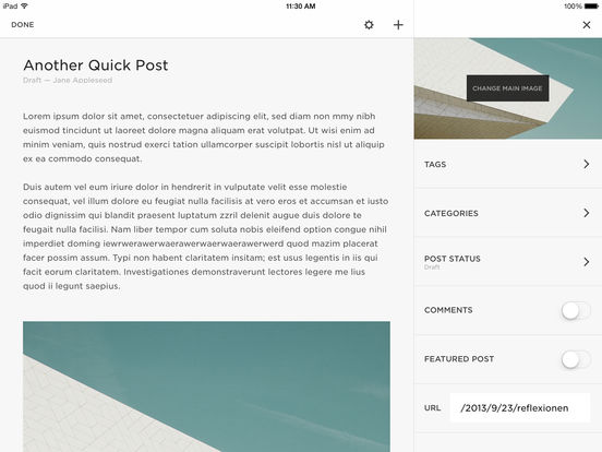 Squarespace Blog Screenshot