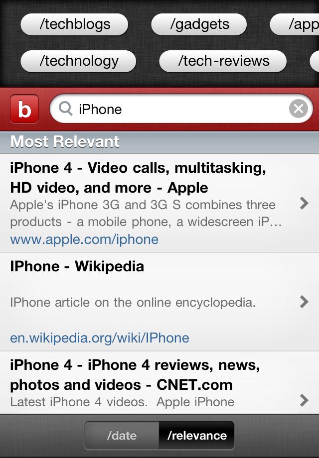 blekko screenshot #2