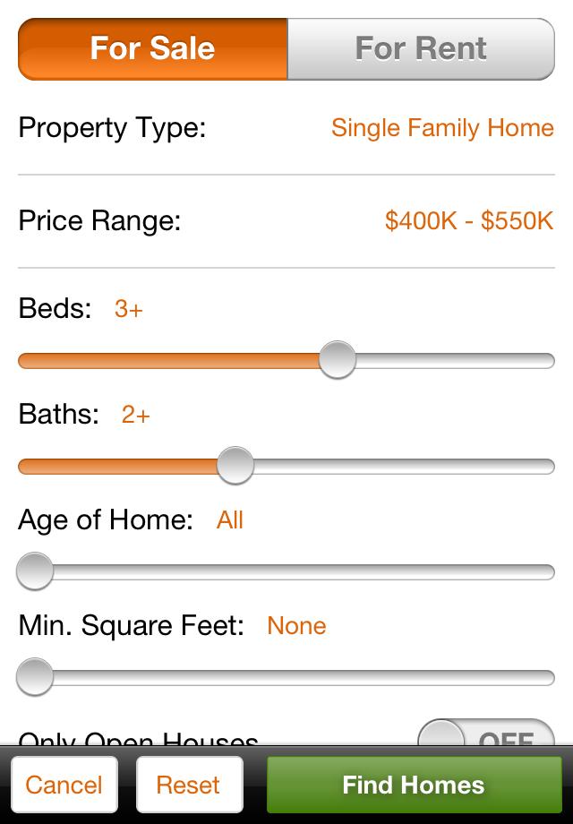 HomeFinder.com Real Estate Search Screenshot