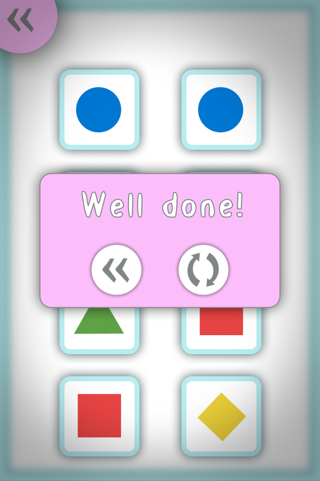 Shapes & Colours Concentration Game Screenshot