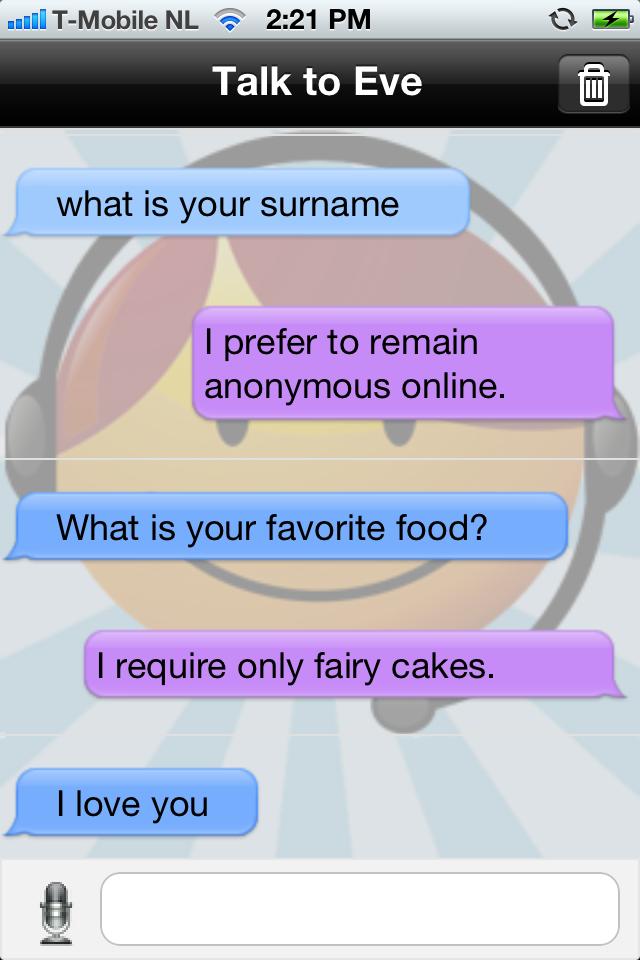 Talk to Eve (free) Screenshot