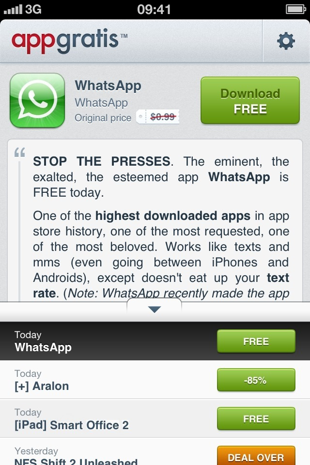 AppGratis - 1 free app a day (and other cool discounts) screenshot 2
