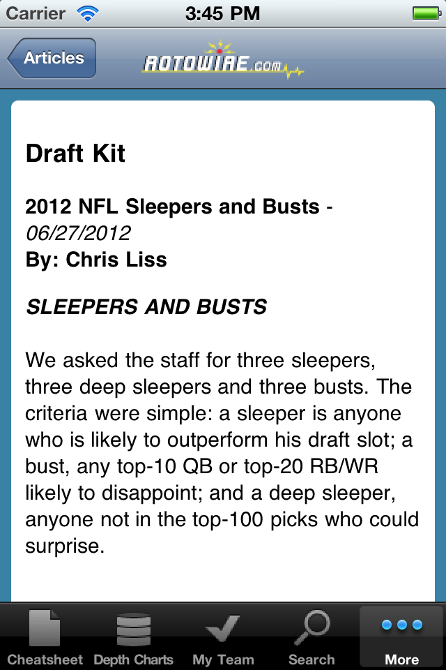 RotoWire Fantasy Football Draft Kit 2012 screenshot 3