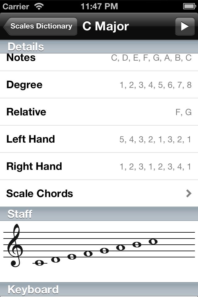 Piano Companion: chords, scales Screenshot