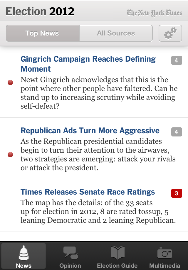 NYTimes Election 2012 screenshot 1