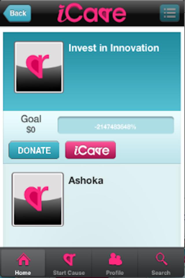 iCare App Screenshot