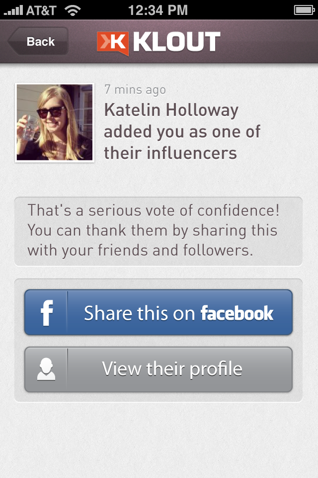 Klout for iPhone Screenshot