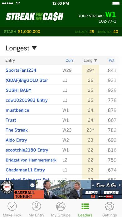 ESPN Streak for the Cash Screenshot