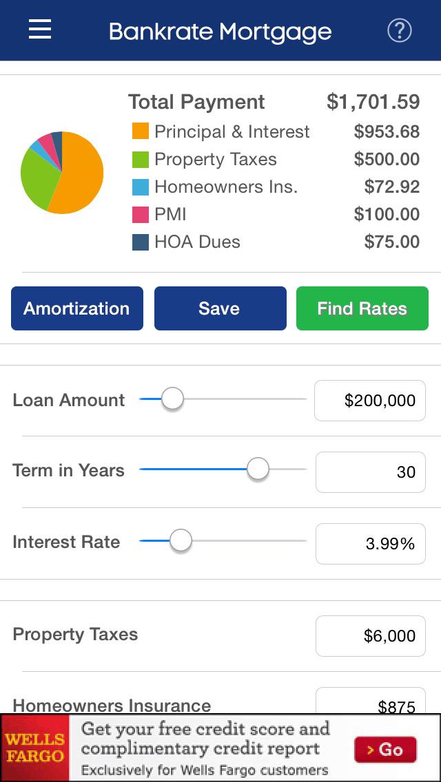 mortgage amortization calculator bankrate
