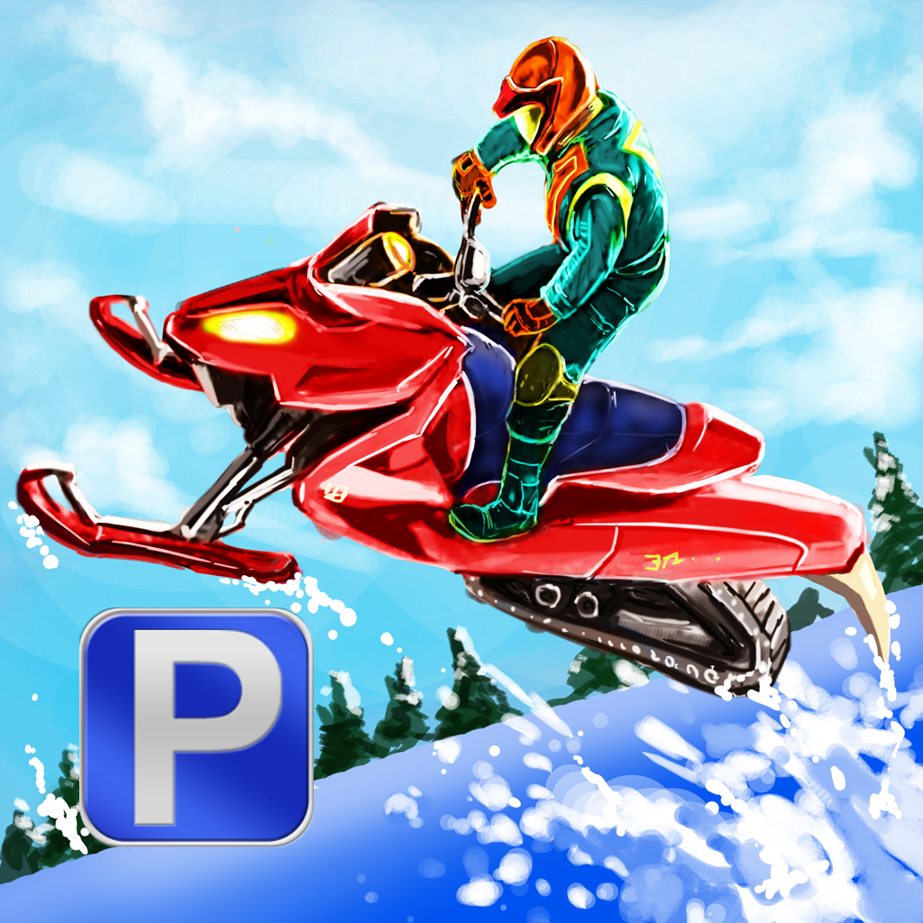 3D Snowmobile Parking - eXtreme Winter Stunt Driving & Simulation Racing Games