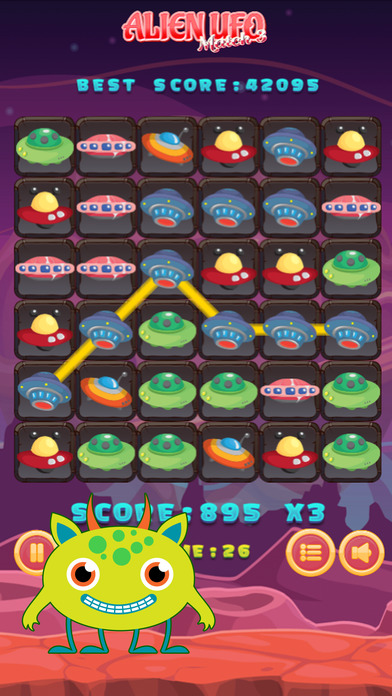 UFO Alien Match 3 Puzzle Game Screenshot on iOS