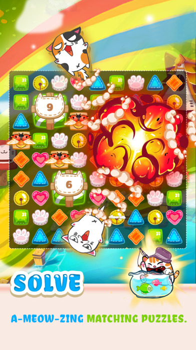 Fancy Cats - Match 3 Puzzle & Kitty Dressup! Screenshot