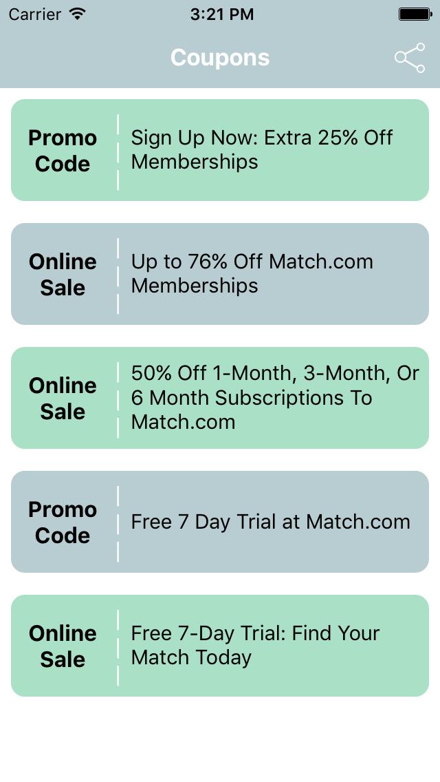 Match com trial code