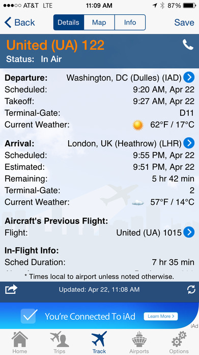 FlightView Free - Real-Time Flight Tracker and Airport Delay Status Screenshot