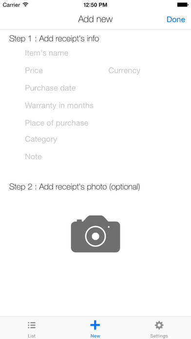 Receipt Manager for iOS Screenshot