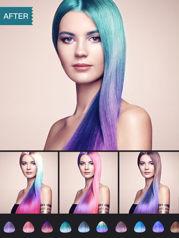 Stupendous Hair Color Dye Switch Hairstyles Wig Photo Makeup On The App Store Short Hairstyles Gunalazisus